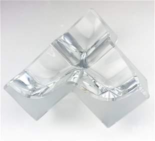 Daum France Geometric Crystal Ashtray Sculpture