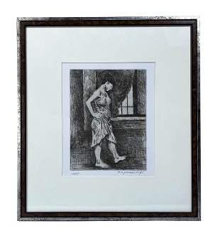 Raphael Soyer 1899-1987 Etched Portrait Lithograph
