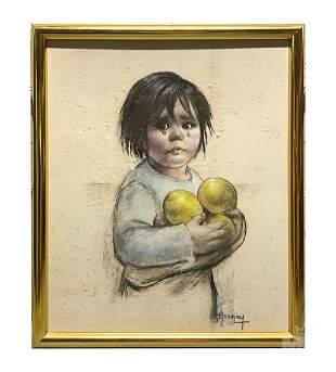 Betti Bernay 1926-2010 Baby Portrait Oil Painting