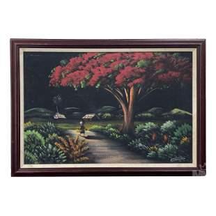 H Dominguez 20th C. Landscape Gouache Oil Painting