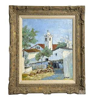 Mystery Artist Church Town Landscape Oil Painting