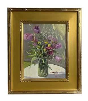Hugh O'Neill b.1959 Floral Still Life Oil Painting