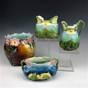 Lot of 4 Majolica Antique Jardiniere Art Pottery