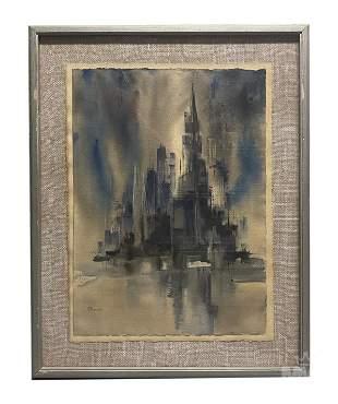 Ann Keenan 1904-1982 American Cityscape Painting