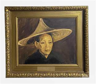 Mystery Artist Hatted Man Portrait Oil Painting