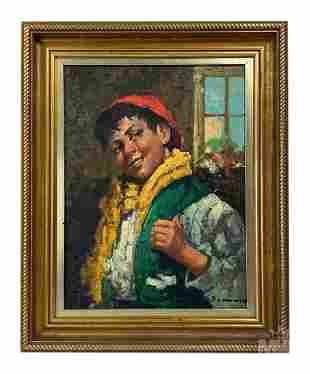 Signed Mystery Artist Boy Portrait Oil Painting