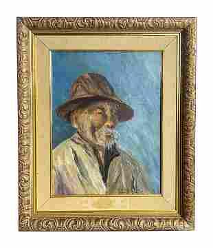 Mystery Artist Hong Kong Man Portrait Oil Painting