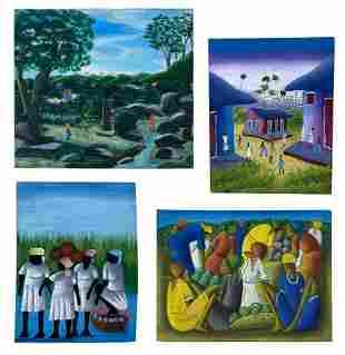 Estate Collection 4 Haitian Art Original Paintings