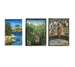 Estate Collection 3 Haitian Art Original Paintings