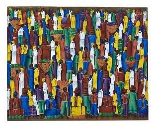 J. Pierre SIGNED Haitian Acrylic Folk Art Painting