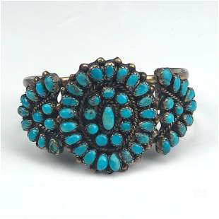 Navajo Turquoise Silver Plated Cuff Bracelet VTG