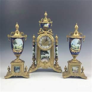 Antique French Dore Bronze & Porcelain Clock Set