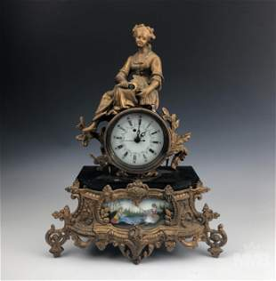 Antique Style French Bronzed Figural Mantle Clock