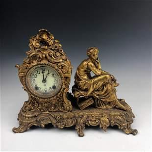 Ansonia 19th C White Metal Figural Mantle Clock