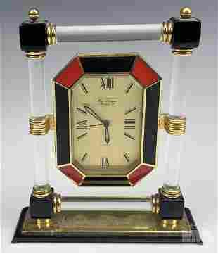 Art Deco Hour Lavigne Enamel & Lucite Table Clock