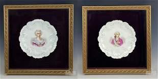 Hand Painted Portrait Porcelain Framed Plates Pair