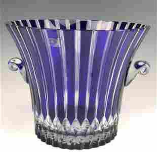 Ajka Crystal Hand Blown Alva Cobalt Ice Bucket