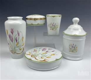 5 pc French Limoges Porcelain Floral Vanity Set
