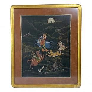 Mughal Empire Hindu Tiger Hunting Art Painting