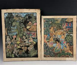 Collection of 2 Indonesian Bali Folk Art Paintings