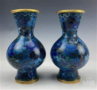 Pair Chinese Export Cloisonne Enamel Floral Vases