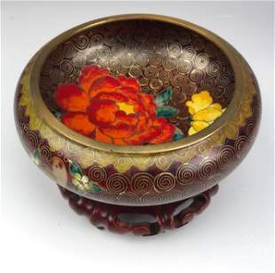 Chinese Export Cloisonne Enamel Bowl & Wood Stand