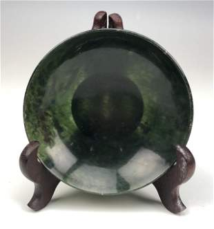 Fine Chinese Carved Green Spinach Jade Dish Bowl