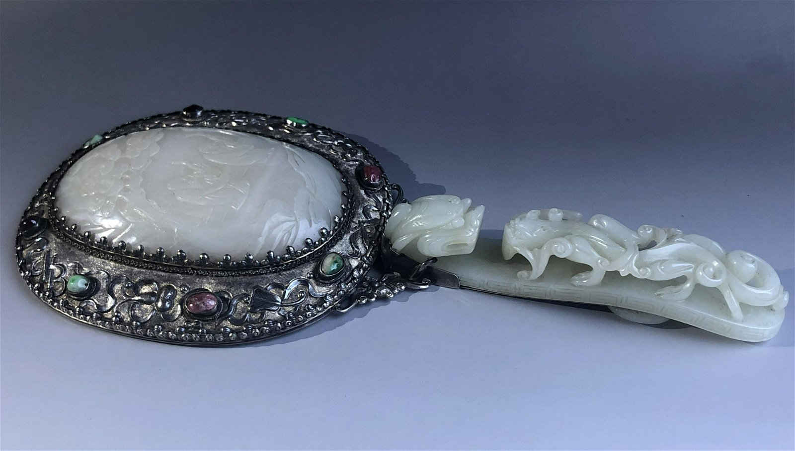 A Very Fine Chinese Jade-Mounted Hand Mirror