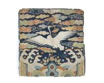 A Rare Ming Dynasty Chinese Embroidered Silk Rank Badge