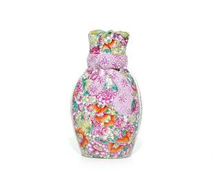 A Rare Chinese Famille Rose Mille Fleurs Vase
