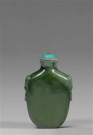 A Chinese Spinach Jade Snuff Bottle