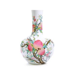 """A Fine Chinese Famille Rose """"Peach"""" Vase"""