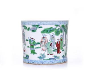 A Chinese 'Doucai' Brush Pot