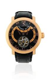 A gentlemans 18ct Rose Gold round watch on strap with