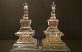 Paire of Chinese Antique Buddhist Cristal Glass Tower