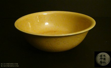 Chinese Antique Bowle in Chanterelle Yellow