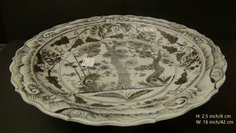 Rare! Supper Large White-Blue Porcelain Plate/Dish