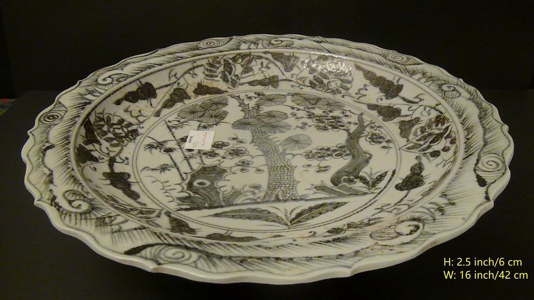 Rare! Large White-Blue Porcelain Plate/Dish Ming