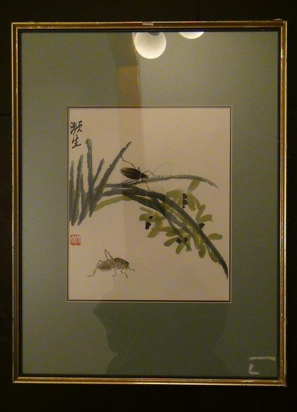 Chinese Antique Printed Painting Qi Baishi Framed