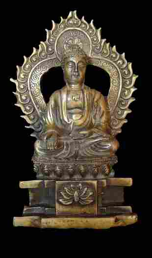 Old Small Chinese Antique Gilt Bronze Buddha Statue
