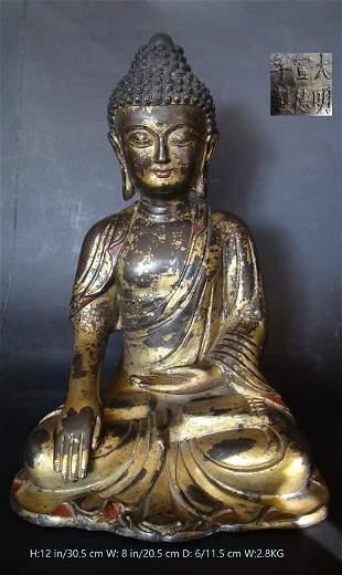 Old Chinese Antique Gilt Bronze Buddha Statue B