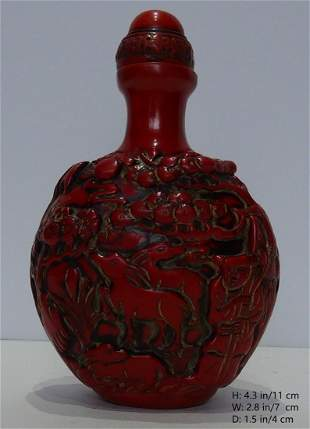 CHINESE ANTIQUE RED CORAL SNUFF BOTTLE 2