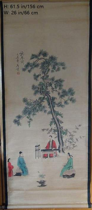 CHINESE ANTIQUE PAINTING LISTENING MUSIC UNDER PINE