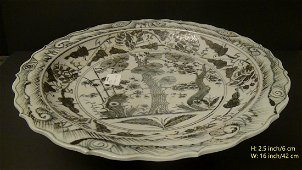 RARE! SPPER LARGE CHINESE ANTIQUE PORCELAIN PLATE YUAN