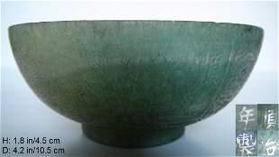 CHINESE ANTIQUE GREEN JADE BOWL QING SHUN ZHI