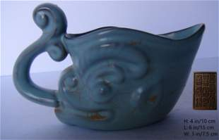 A VERY SPECIAL CHINESE ANTIQUE BLUE GLAZED CUP