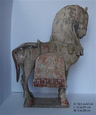 RARE CHINESE ANTIQUE HAN TANG WARING HORSE
