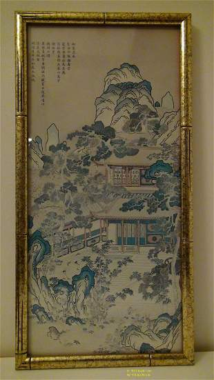 CHINESE ANTIQUE PAINTING FRAMED QING STYLE