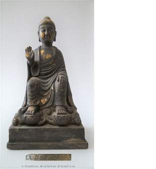 CHINESE ANTIQUE GILT BRONZE SEATED BUDDHA MING YONG LE