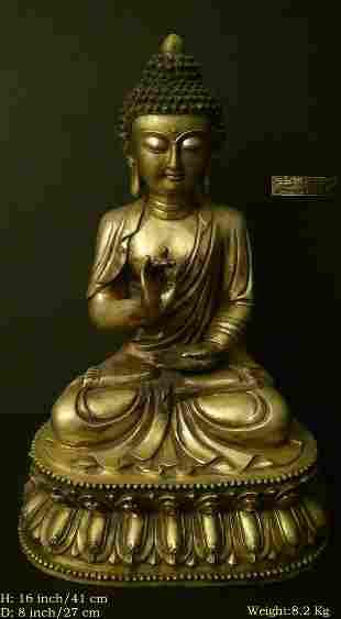 OLD CHINESE ANTIQUE BRONZE BUDDHA STATUE XUAN DE MARK